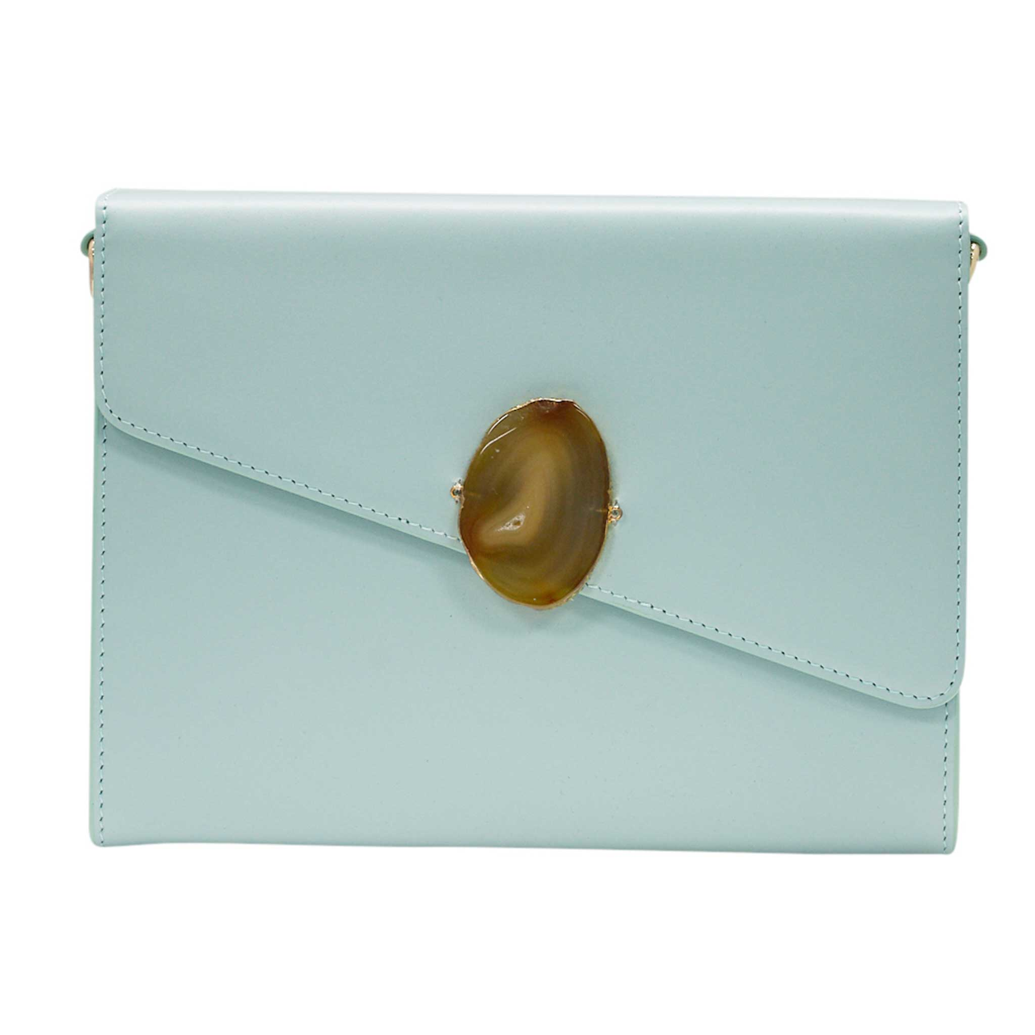 LOVED BAG - MOONSTONE WHITE LEATHER WITH YELLOW AGATE - 1.02.004.015
