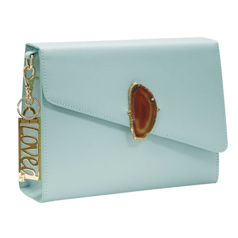 LOVED BAG - MOONSTONE WHITE LEATHER WITH BROWN AGATE - 1.02.001.006