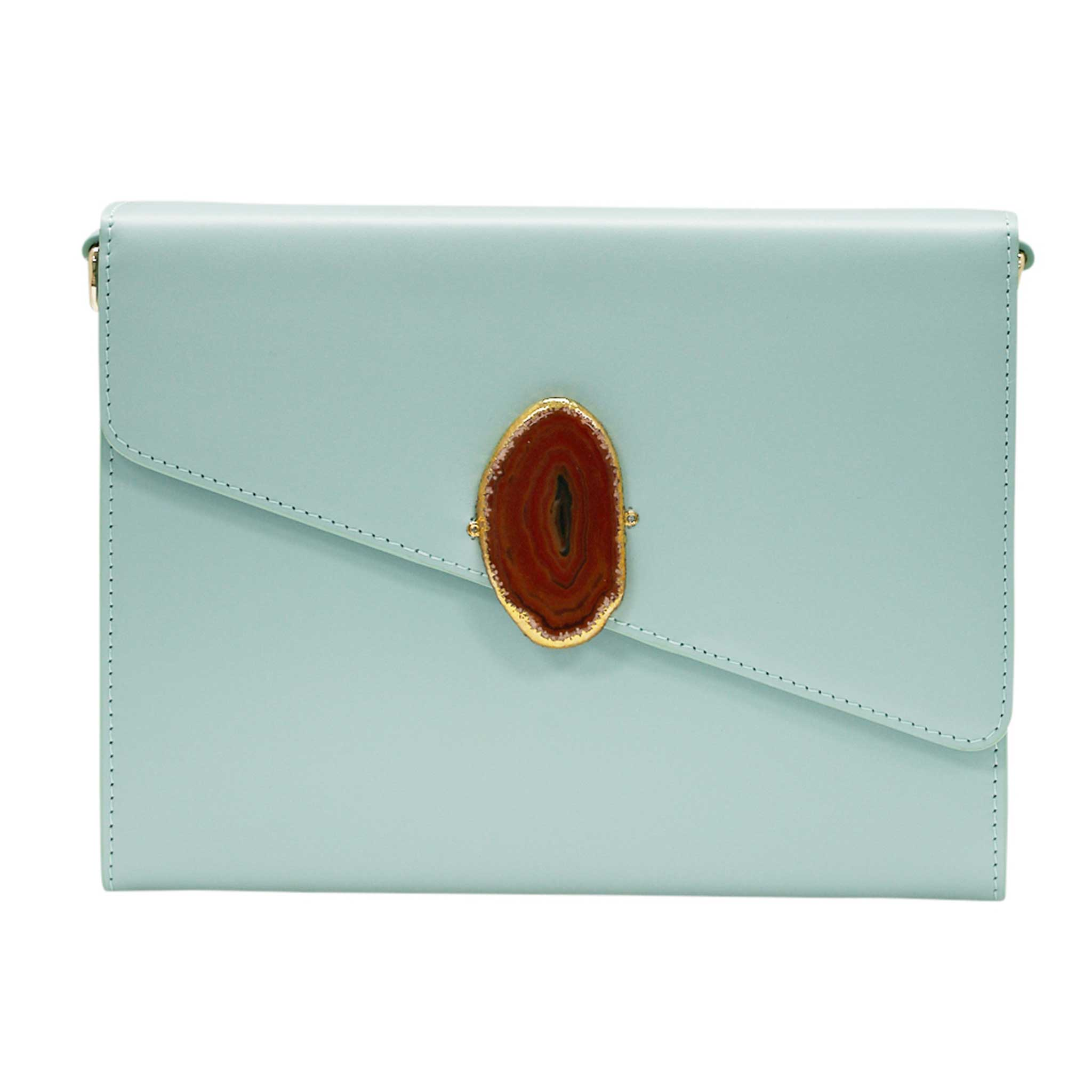 LOVED BAG - MOONSTONE WHITE LEATHER WITH BROWN AGATE - 1.02.004.032