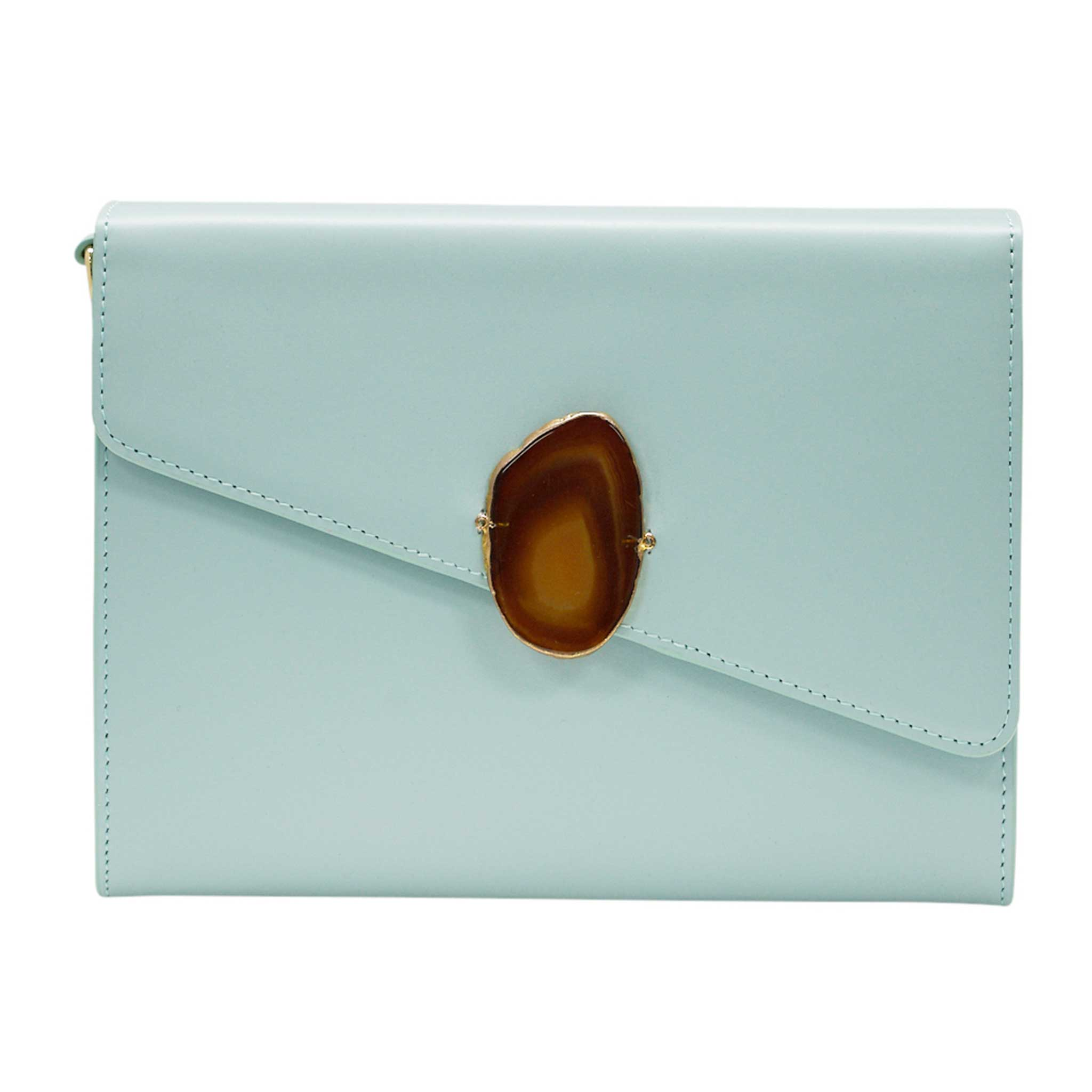 LOVED BAG - MOONSTONE WHITE LEATHER WITH BROWN AGATE - 1.02.004.042