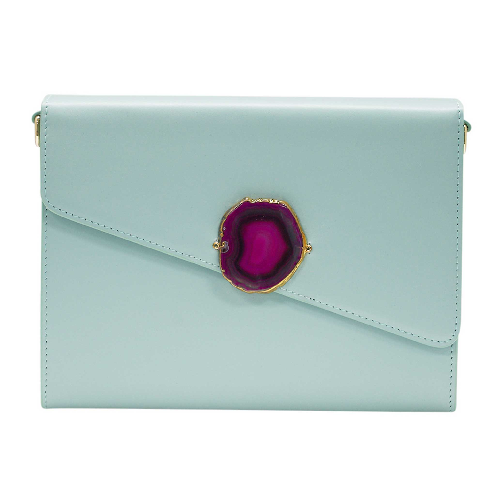 LOVED BAG - MOONSTONE WHITE LEATHER WITH PURPLE AGATE - 1.02.005.027