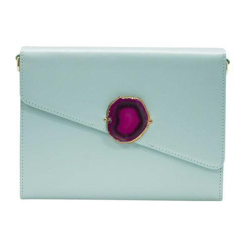 LOVED BAG - MOONSTONE WHITE LEATHER WITH BROWN AGATE - 1.02.004.034