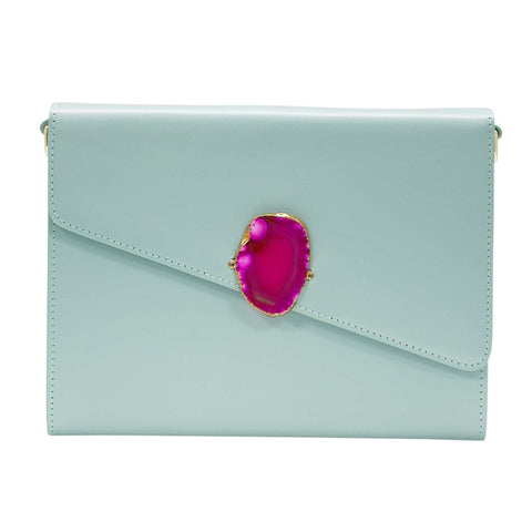 LOVED BAG - MOONSTONE WHITE LEATHER WITH PINK AGATE - 1.02.005.036
