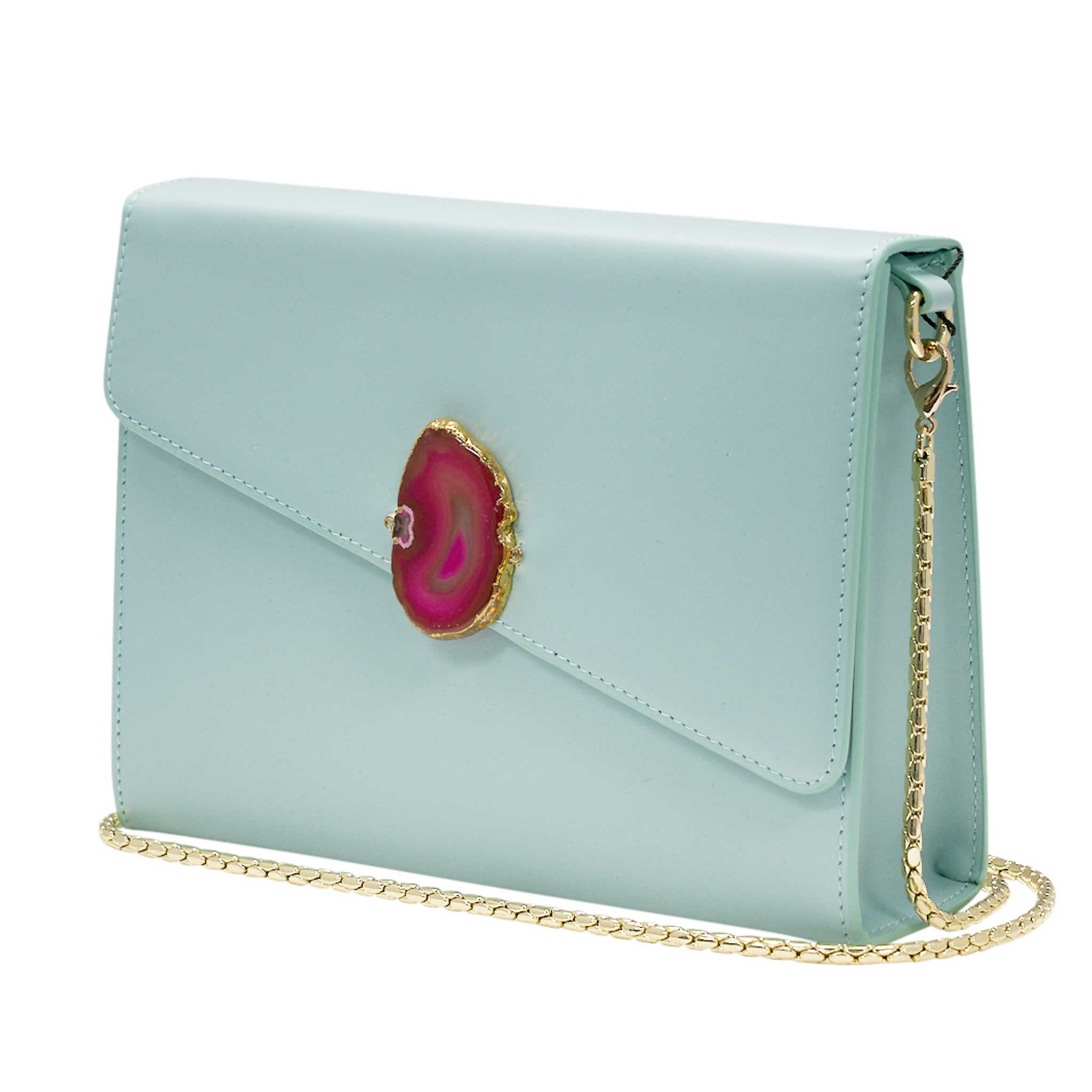LOVED BAG - MOONSTONE WHITE LEATHER WITH PINK AGATE - 1.02.005.058
