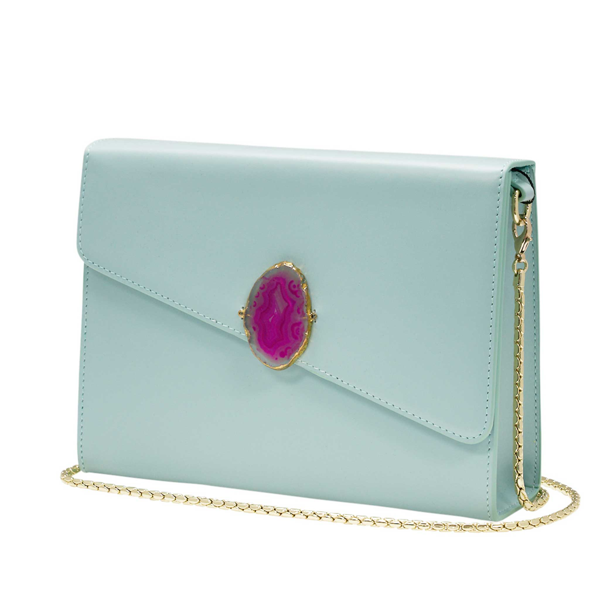 LOVED BAG - MOONSTONE WHITE LEATHER WITH PINK AGATE - 1.02.005.35