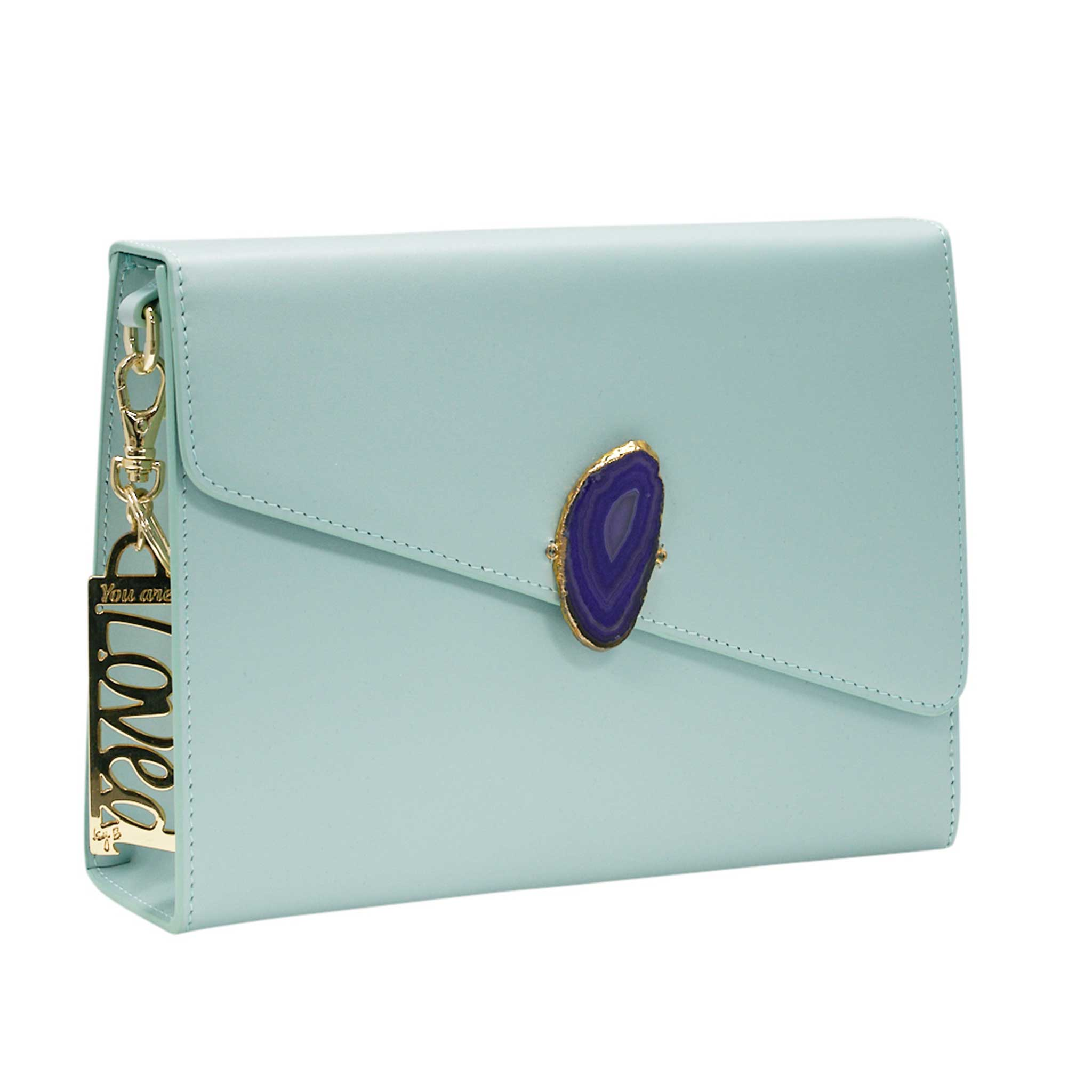 LOVED BAG - MOONSTONE WHITE LEATHER WITH BLUE AGATE - 1.02.006.007