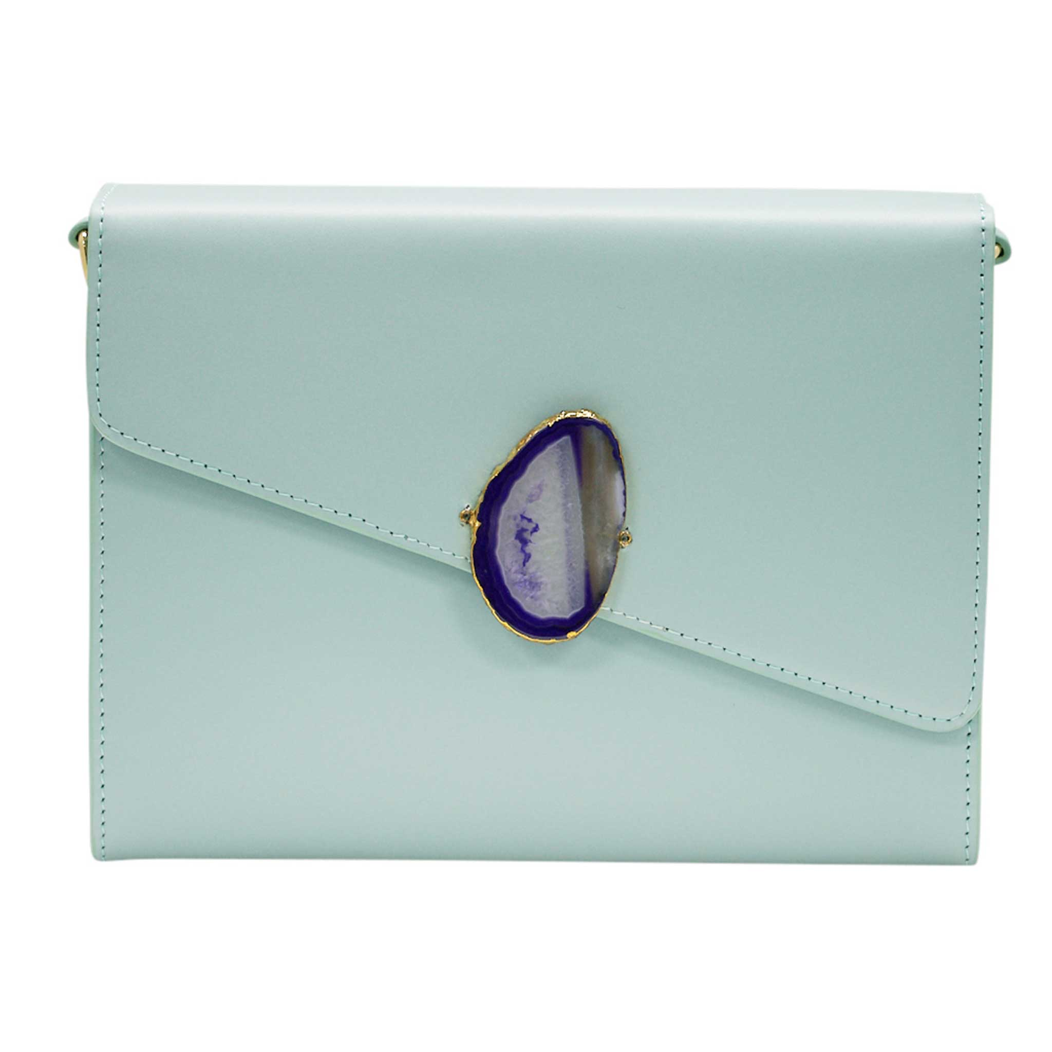 LOVED BAG - MOONSTONE WHITE LEATHER WITH BLUE AGATE - 1.02.006.048