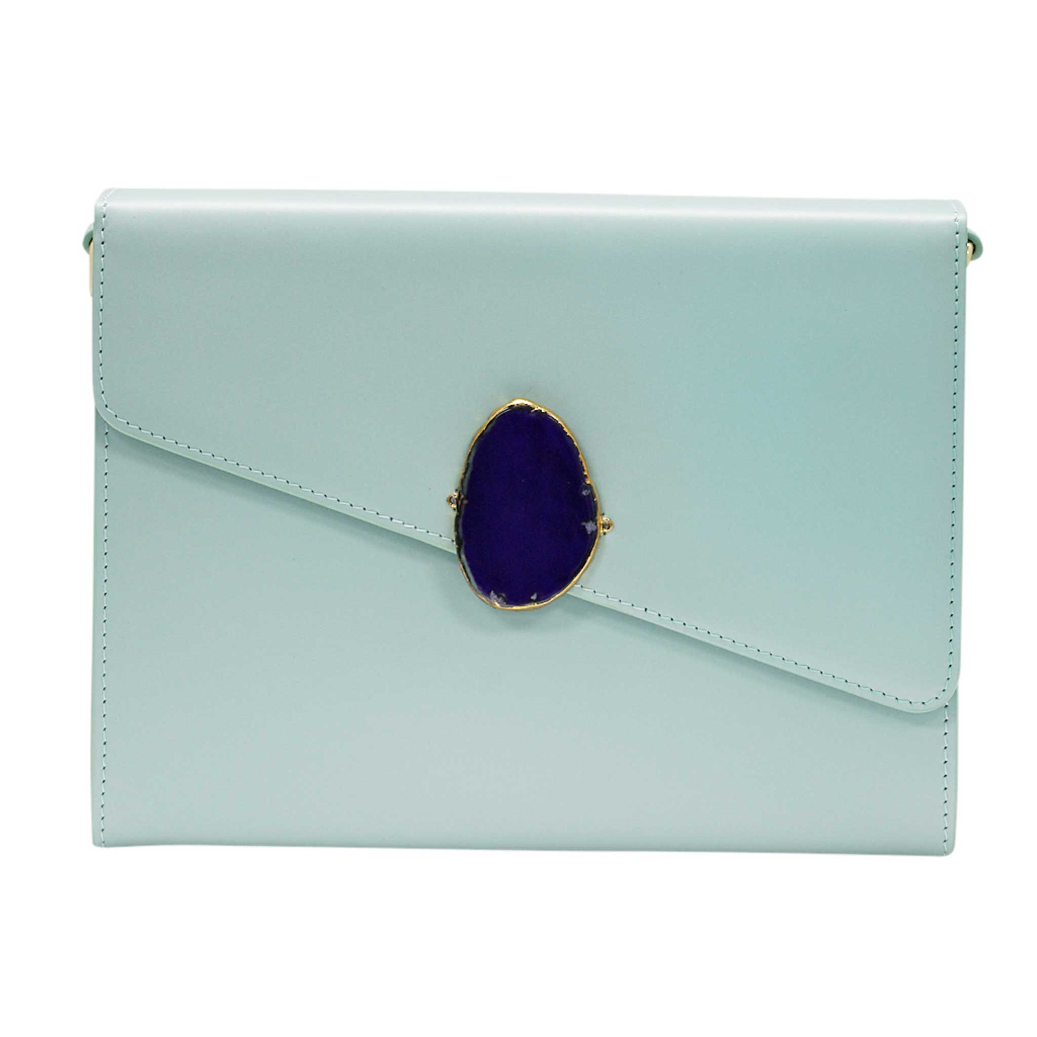 LOVED BAG - MOONSTONE WHITE LEATHER WITH BLUE AGATE - 1.02.006.053