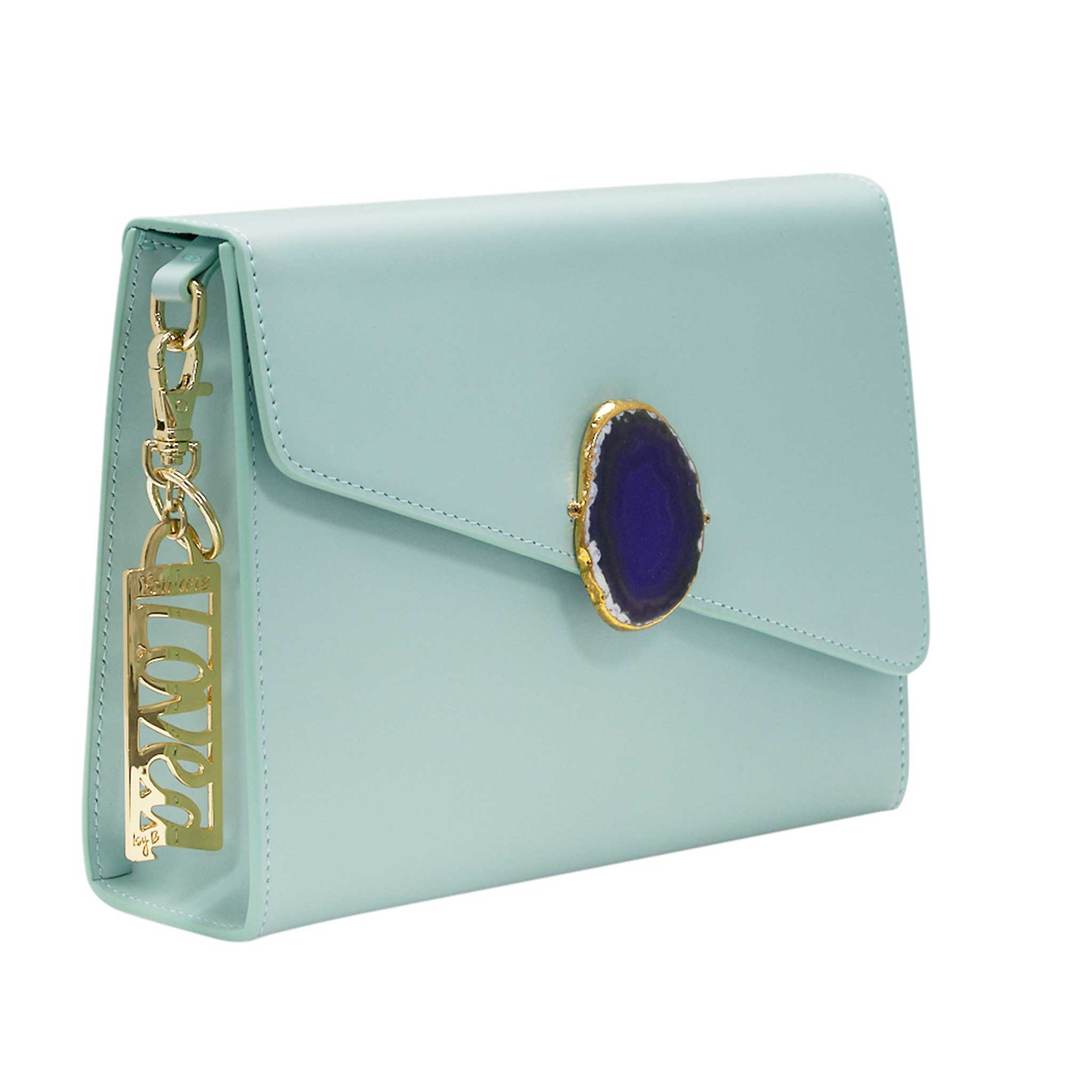 LOVED BAG - MOONSTONE WHITE LEATHER WITH BLUE AGATE - 1.02.006.51