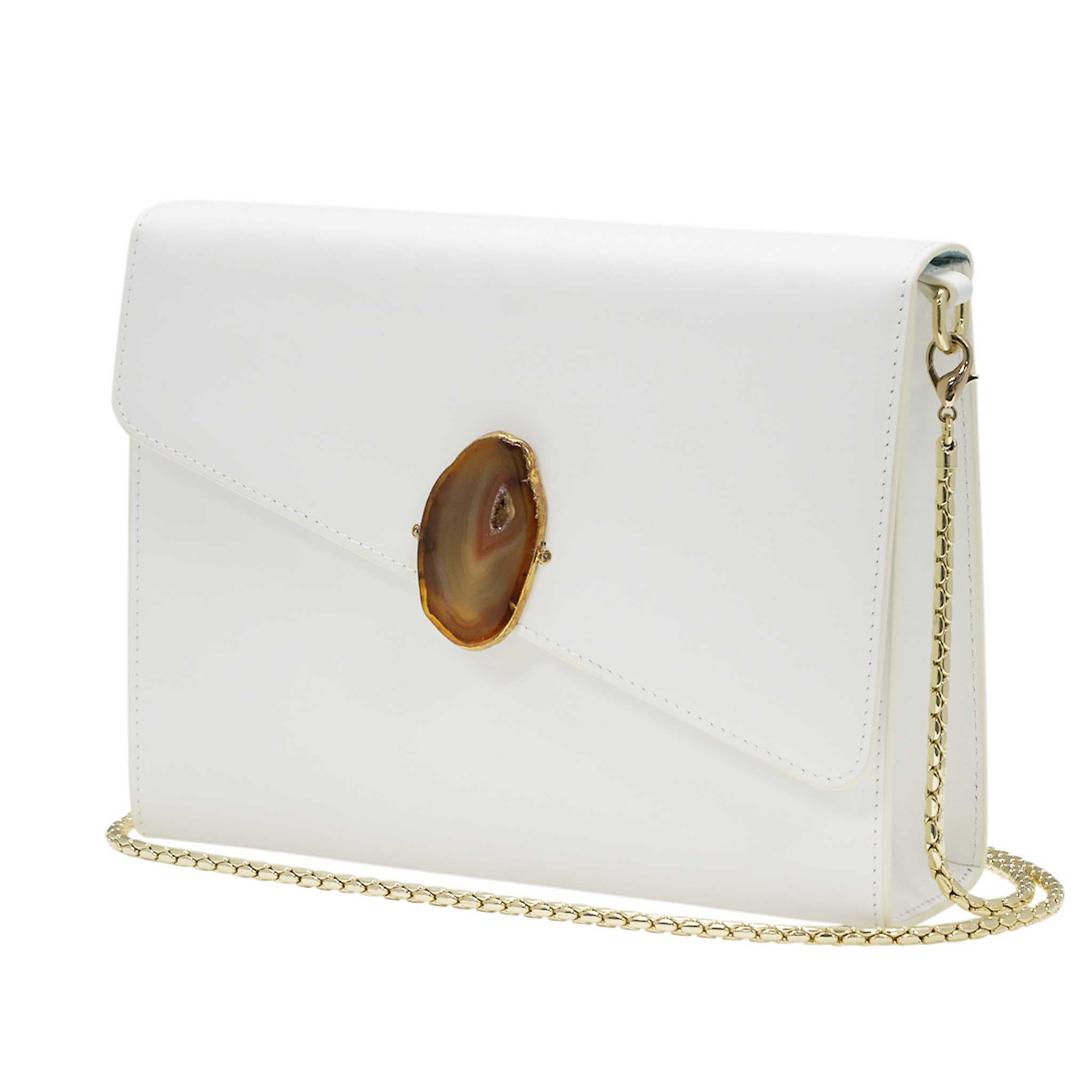 LOVED BAG - MOONSTONE WHITE LEATHER WITH BROWN AGATE - 1.03.001.01