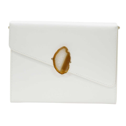 LOVED BAG - MOONSTONE WHITE LEATHER WITH BROWN AGATE - 1.03.001.045