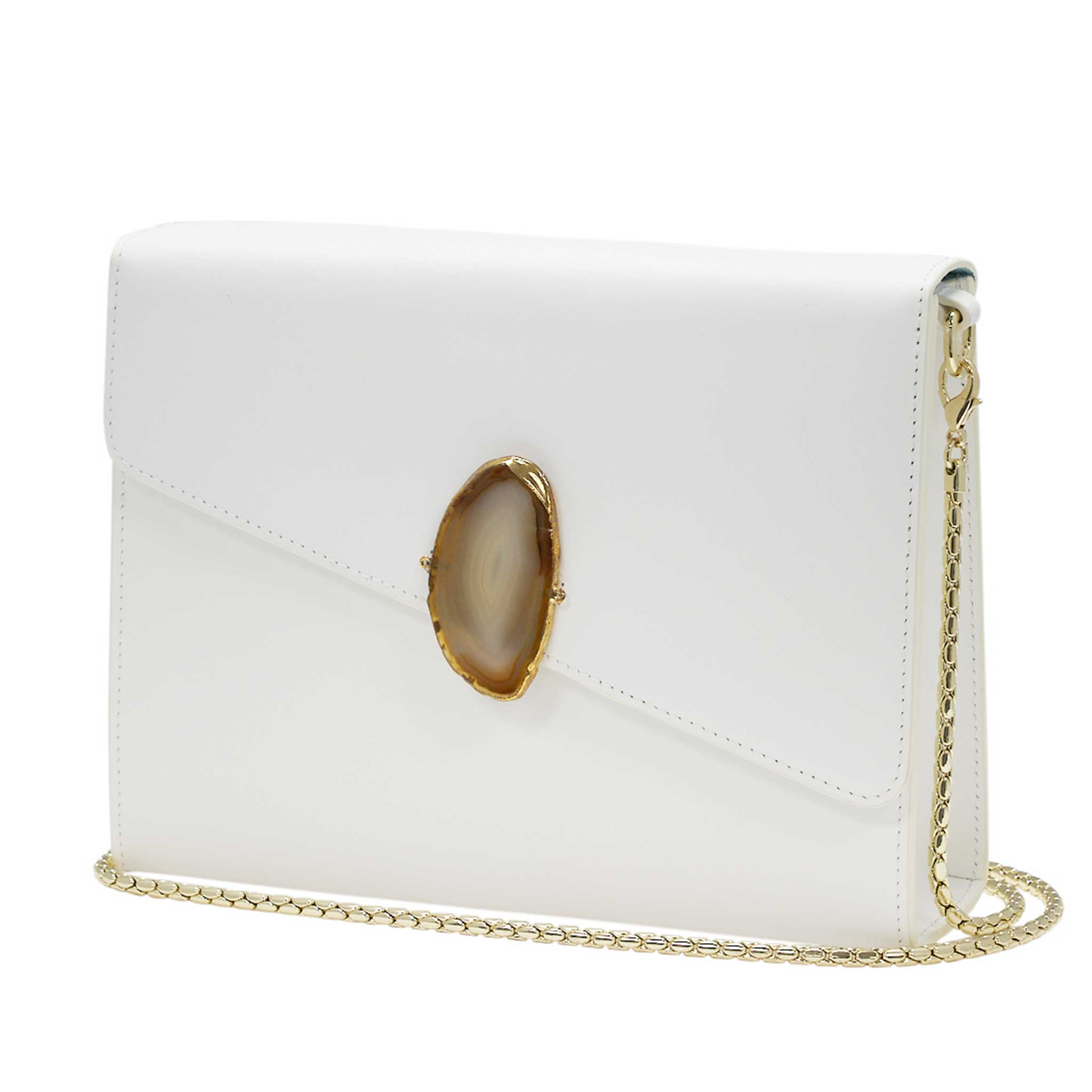 LOVED BAG - MOONSTONE WHITE LEATHER WITH BROWN AGATE - 1.03.001.011