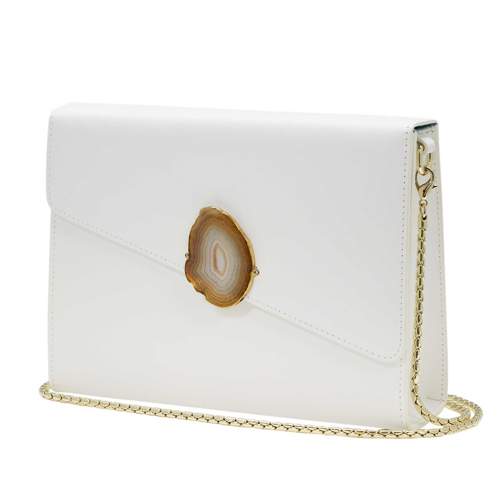 LOVED BAG - MOONSTONE WHITE LEATHER WITH YELLOW AGATE - 1.03.001.046