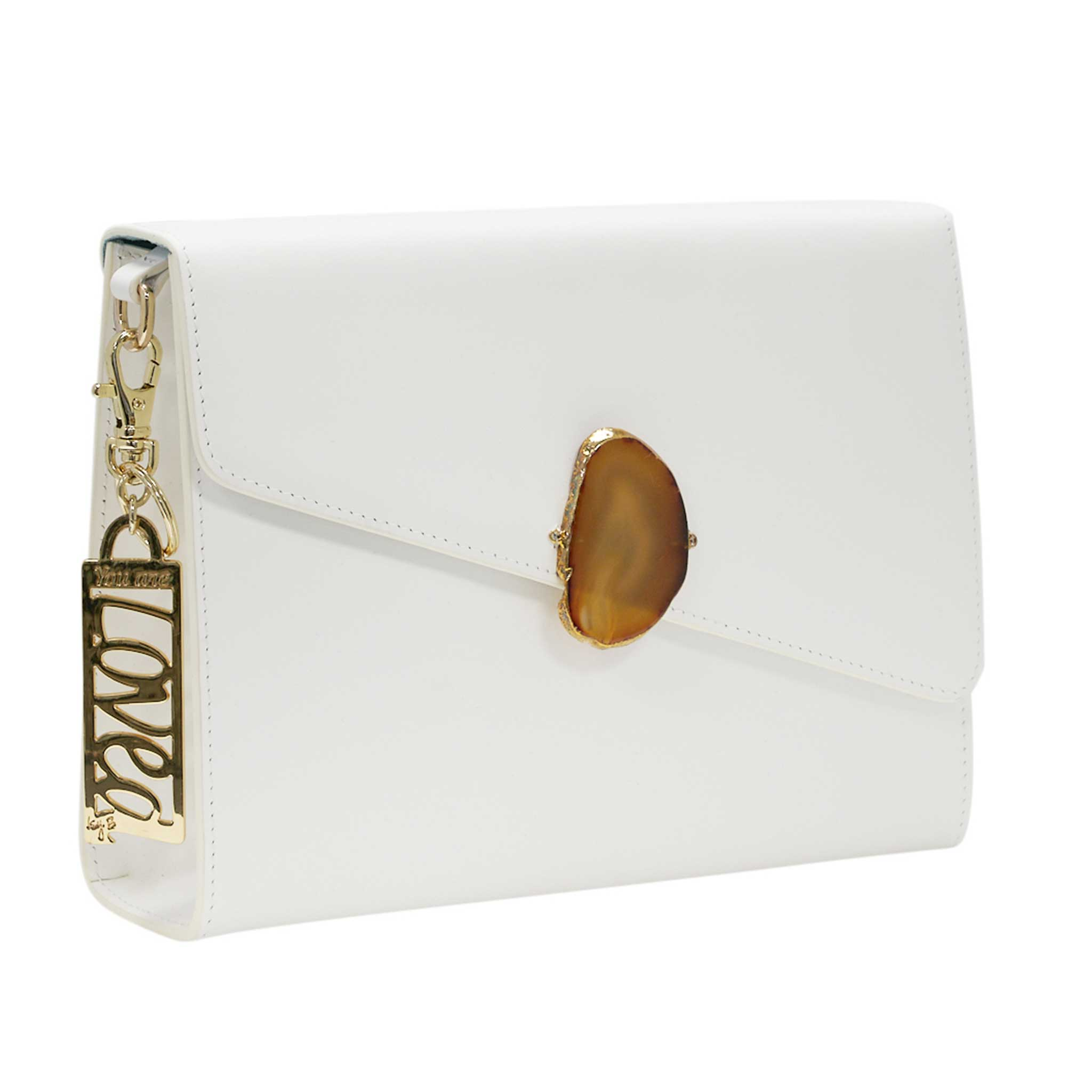 LOVED BAG - MOONSTONE WHITE LEATHER WITH BROWN AGATE - 1.03.001.44