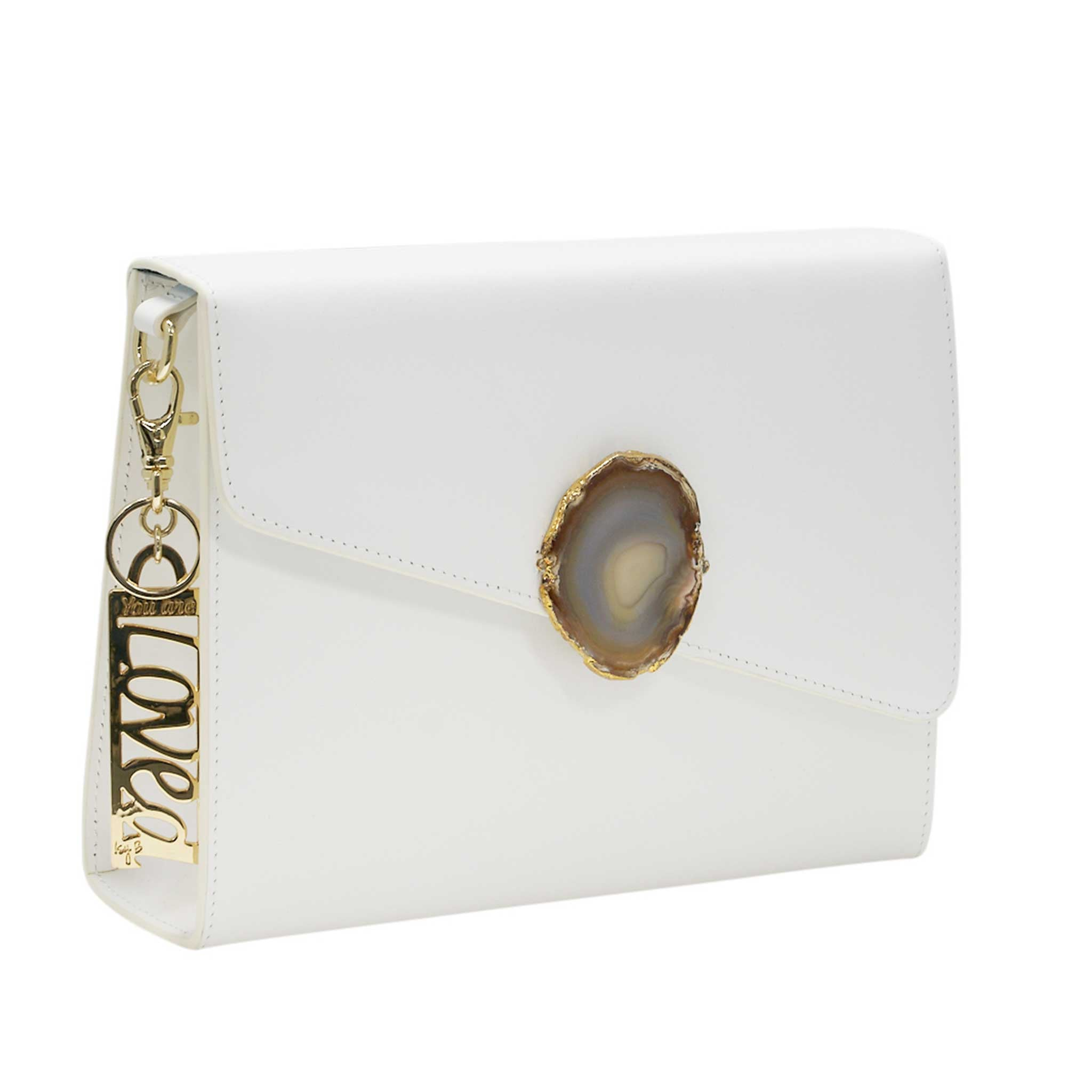 LOVED BAG - MOONSTONE WHITE LEATHER WITH YELLOW AGATE - 1.03.003.048