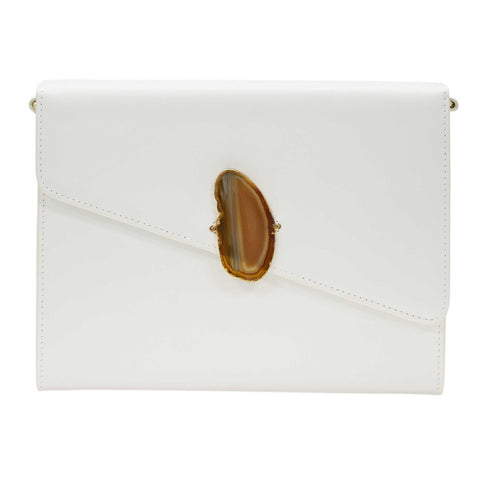 LOVED BAG - MOONSTONE WHITE LEATHER WITH BLUE AGATE - 1.02.006.011