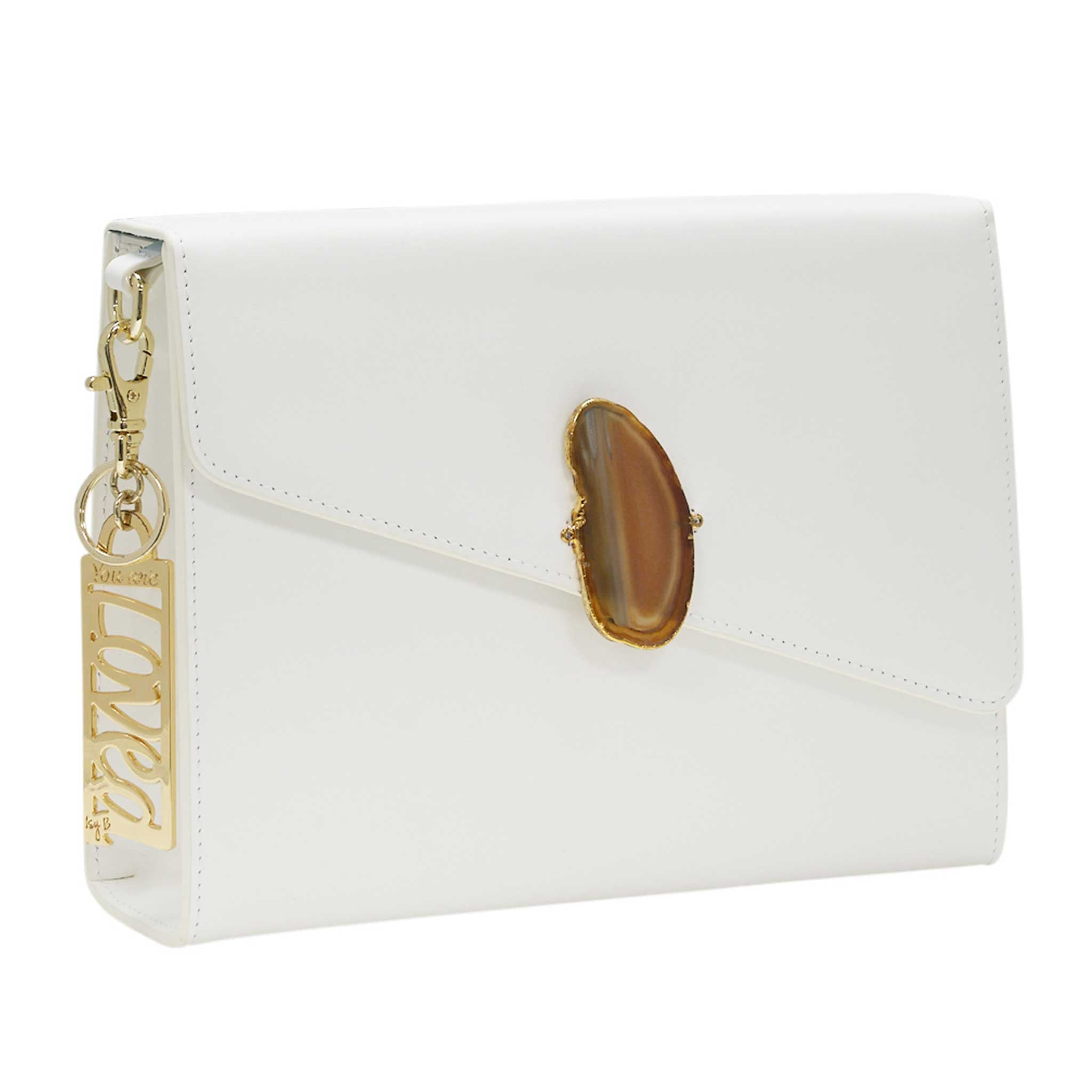 LOVED BAG - MOONSTONE WHITE LEATHER WITH BROWN AGATE - 1.03.004.036