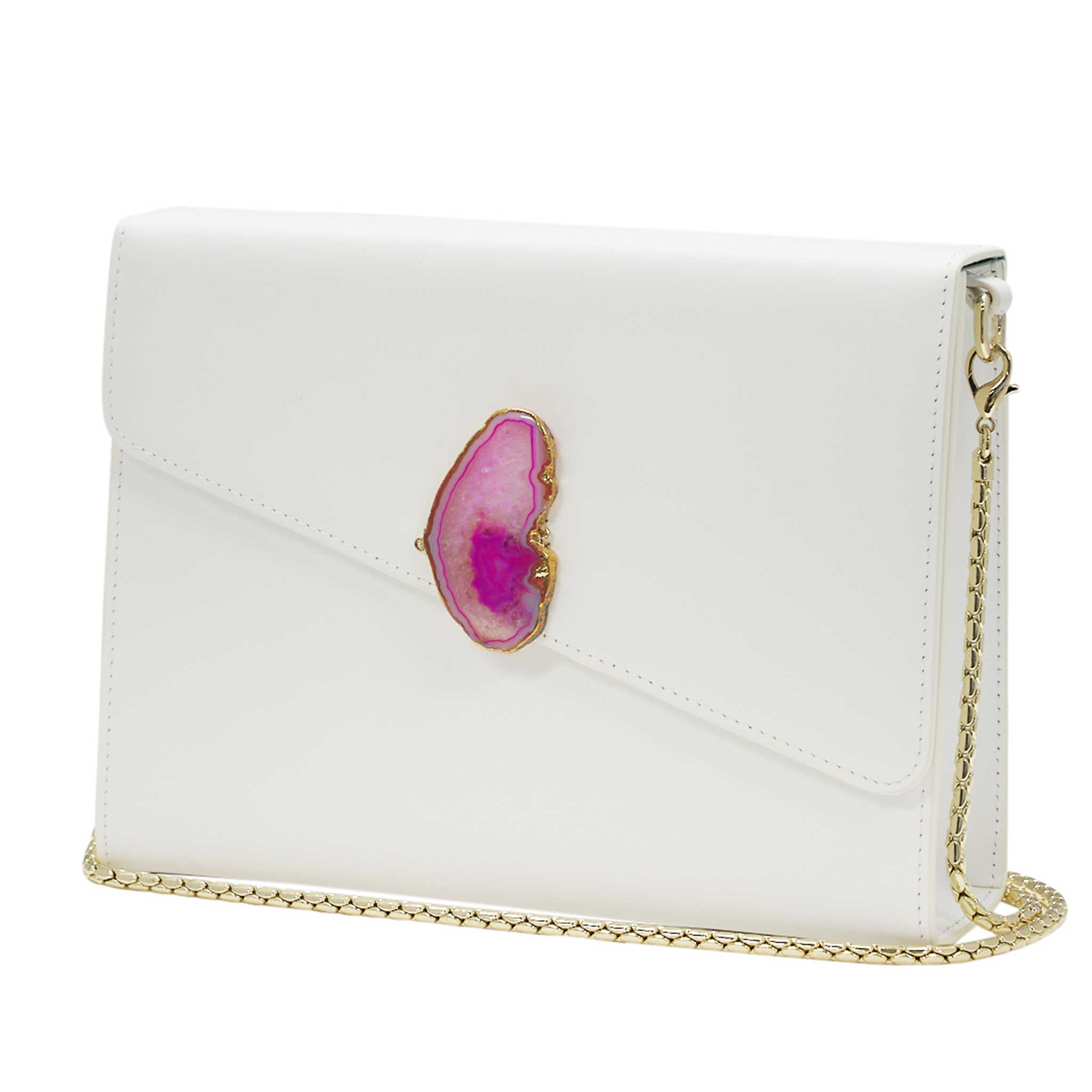 LOVED BAG - MOONSTONE WHITE LEATHER WITH PINK AGATE - 1.03.005.002