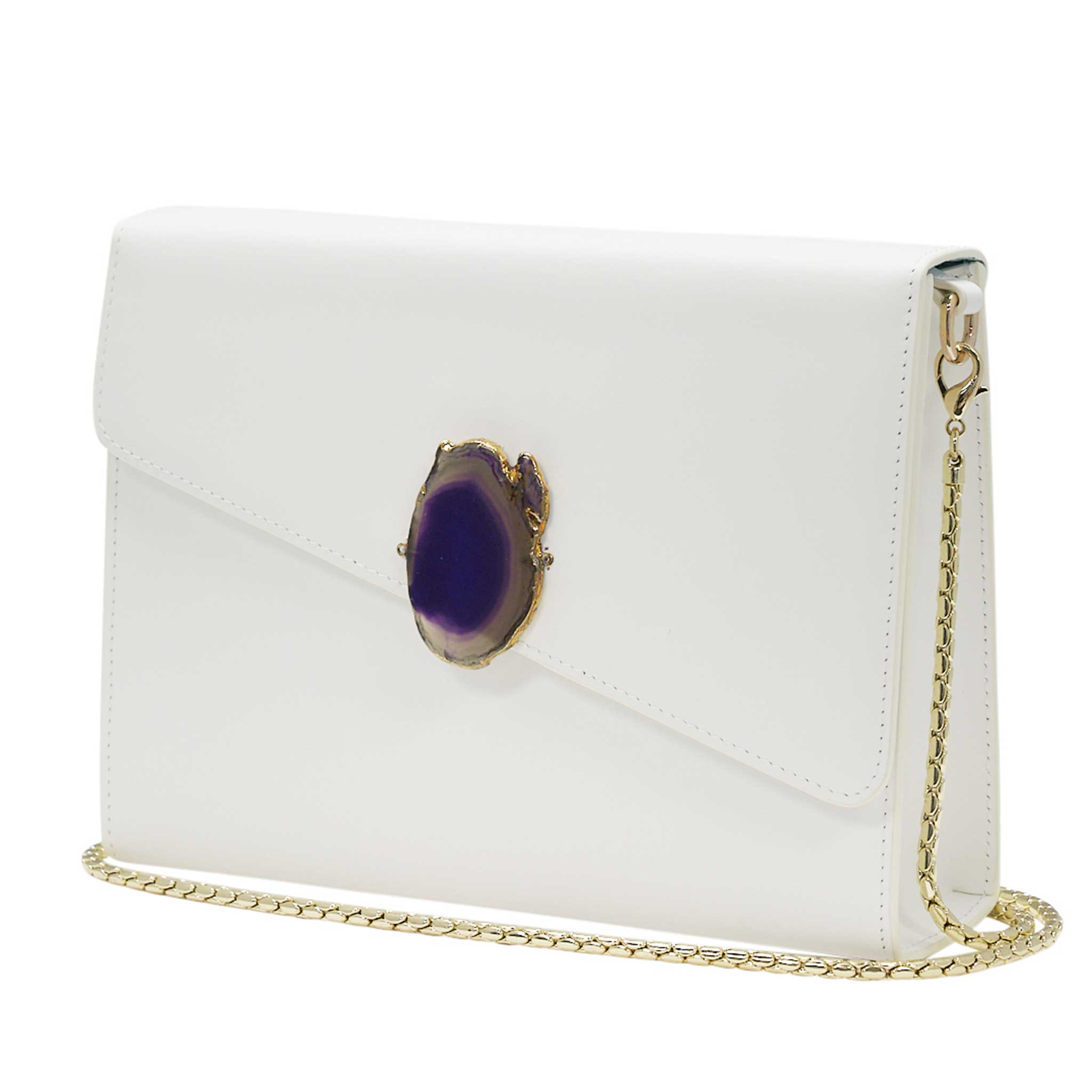 LOVED BAG - MOONSTONE WHITE LEATHER WITH PURPLE AGATE - 1.03.006.016