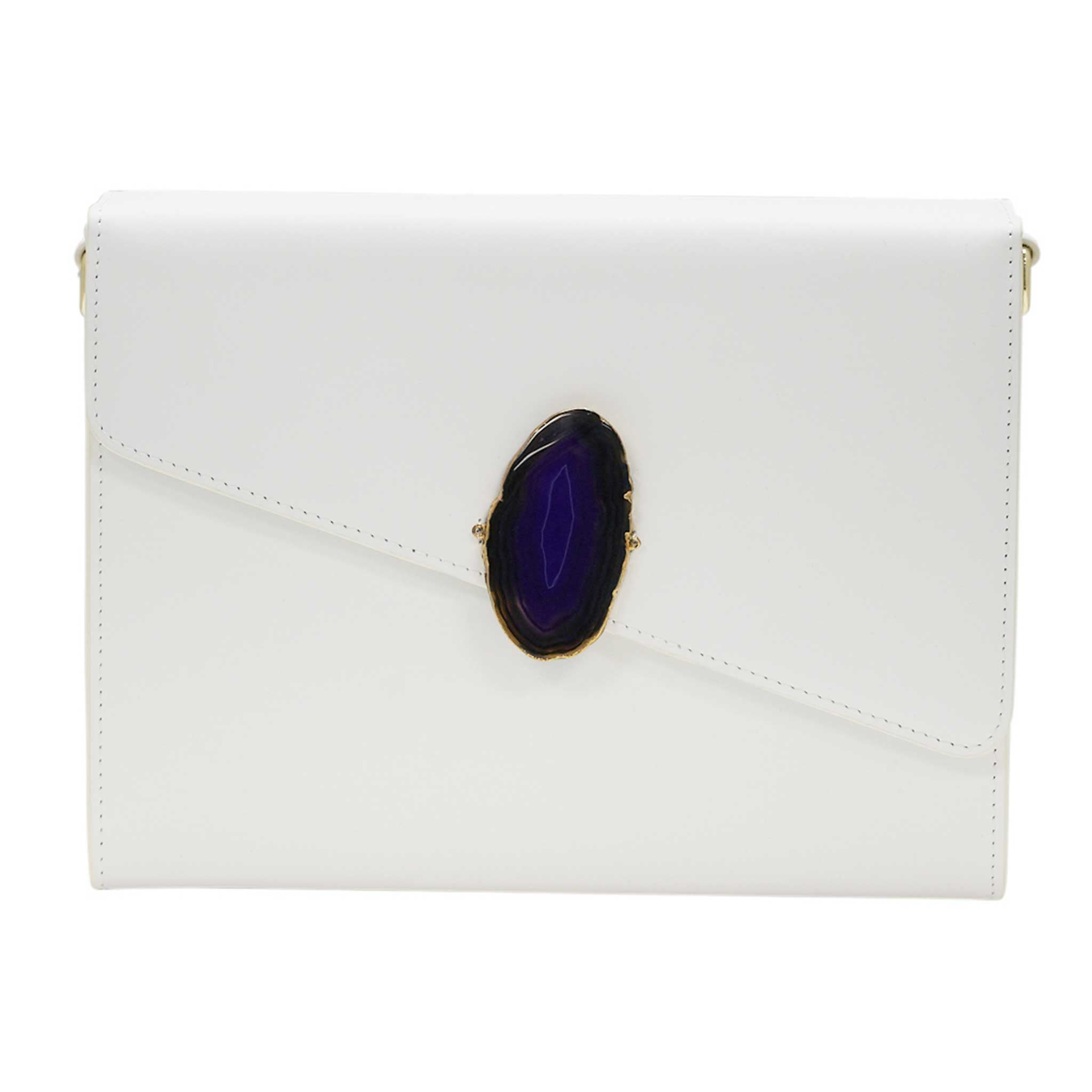 LOVED BAG - MOONSTONE WHITE LEATHER WITH BLUE AGATE - 1.03.006.018