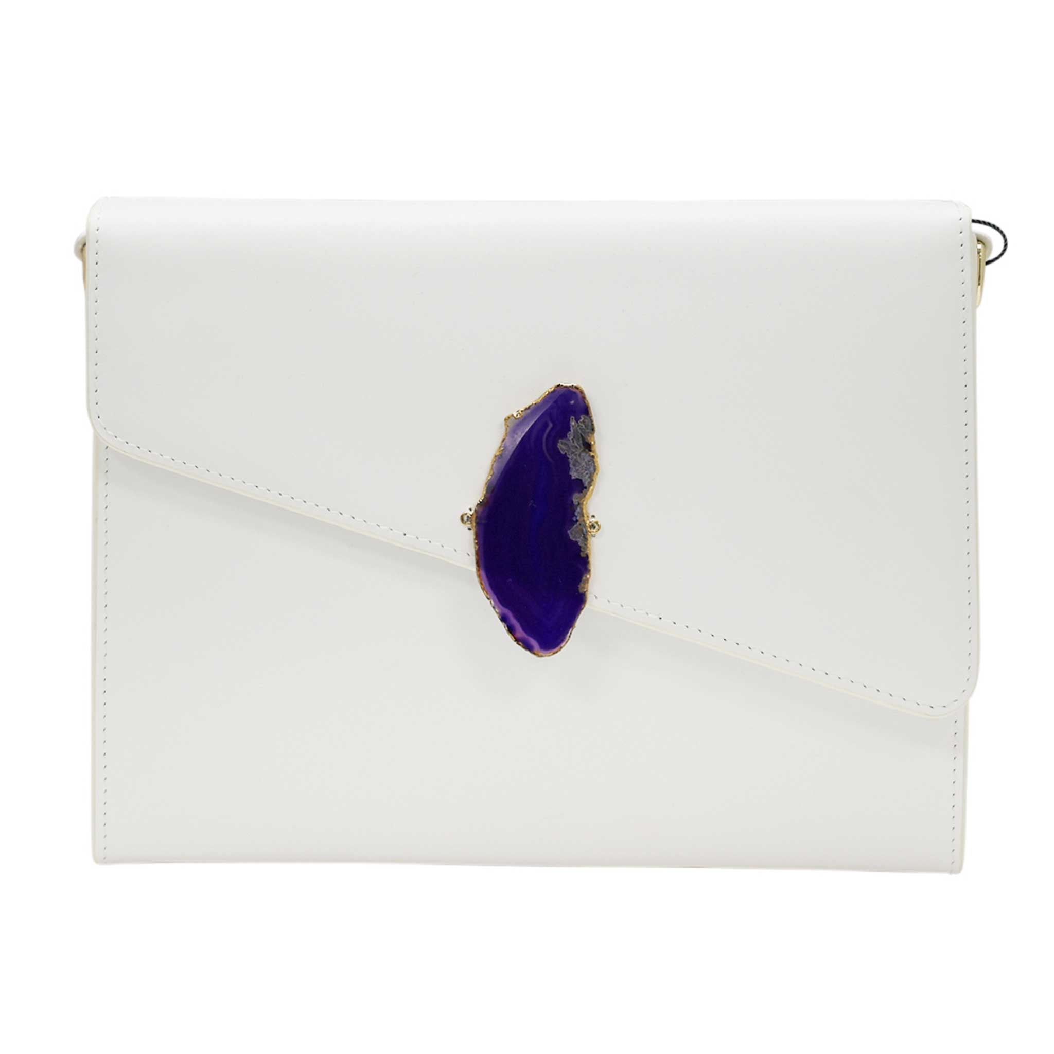 LOVED BAG - MOONSTONE WHITE LEATHER WITH PURPLE AGATE - 1.03.006.023