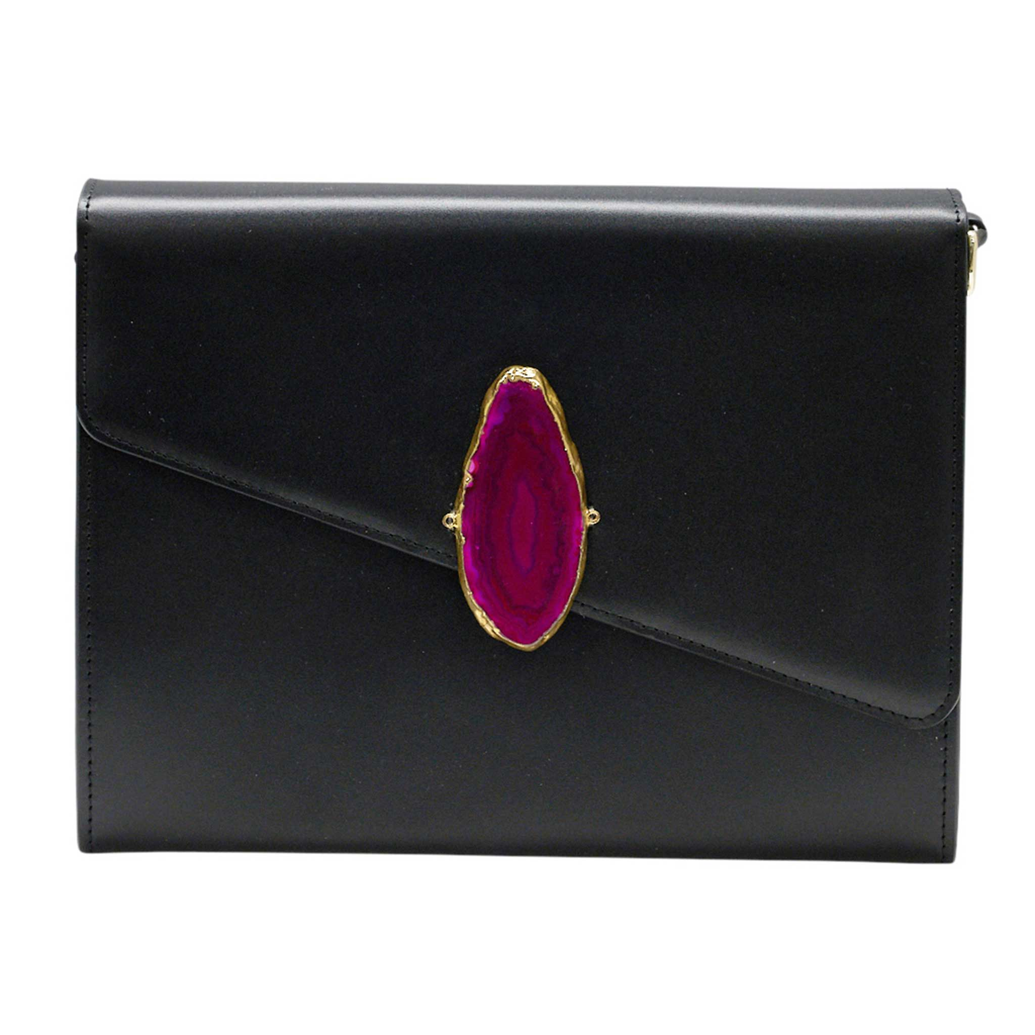 LOVED BAG - BLACK LEATHER WITH PINK AGATE - 1.04.005.001