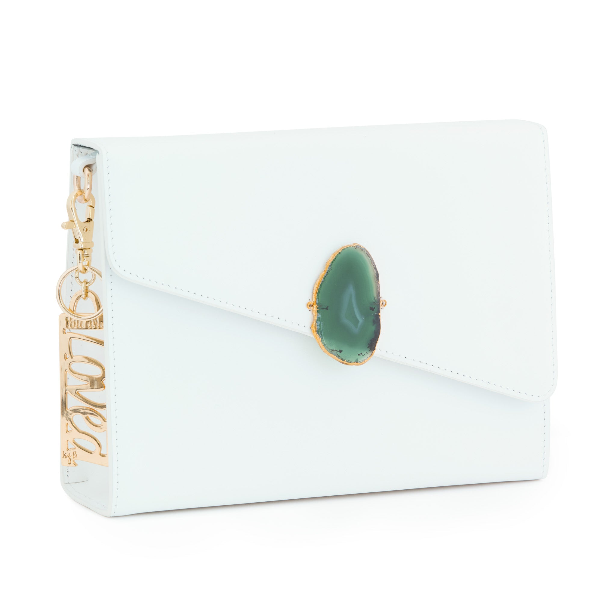 Loved Bag - Moonstone White Leather with Green Agate
