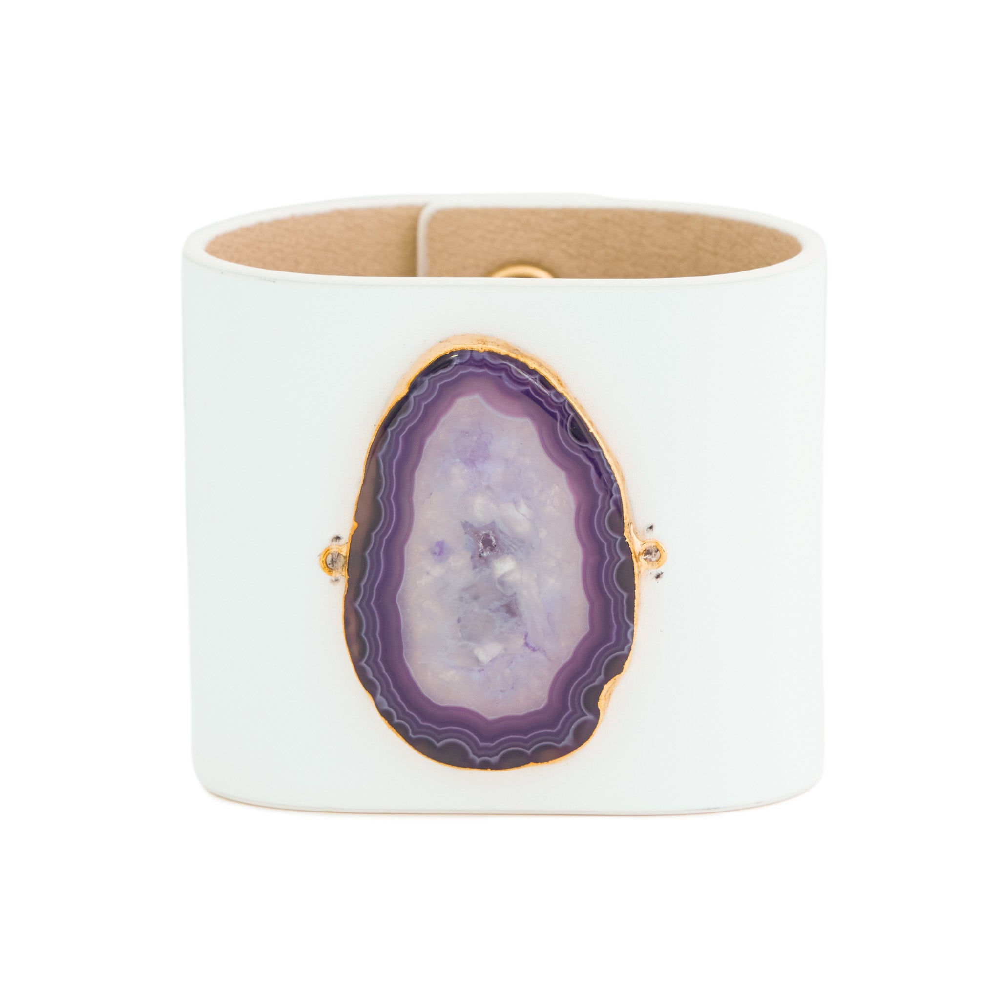 Loved Cuff - Moonstone White Leather with Purple Agate