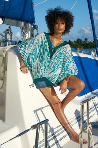 Silk Seaweed Printed Kaftan Top