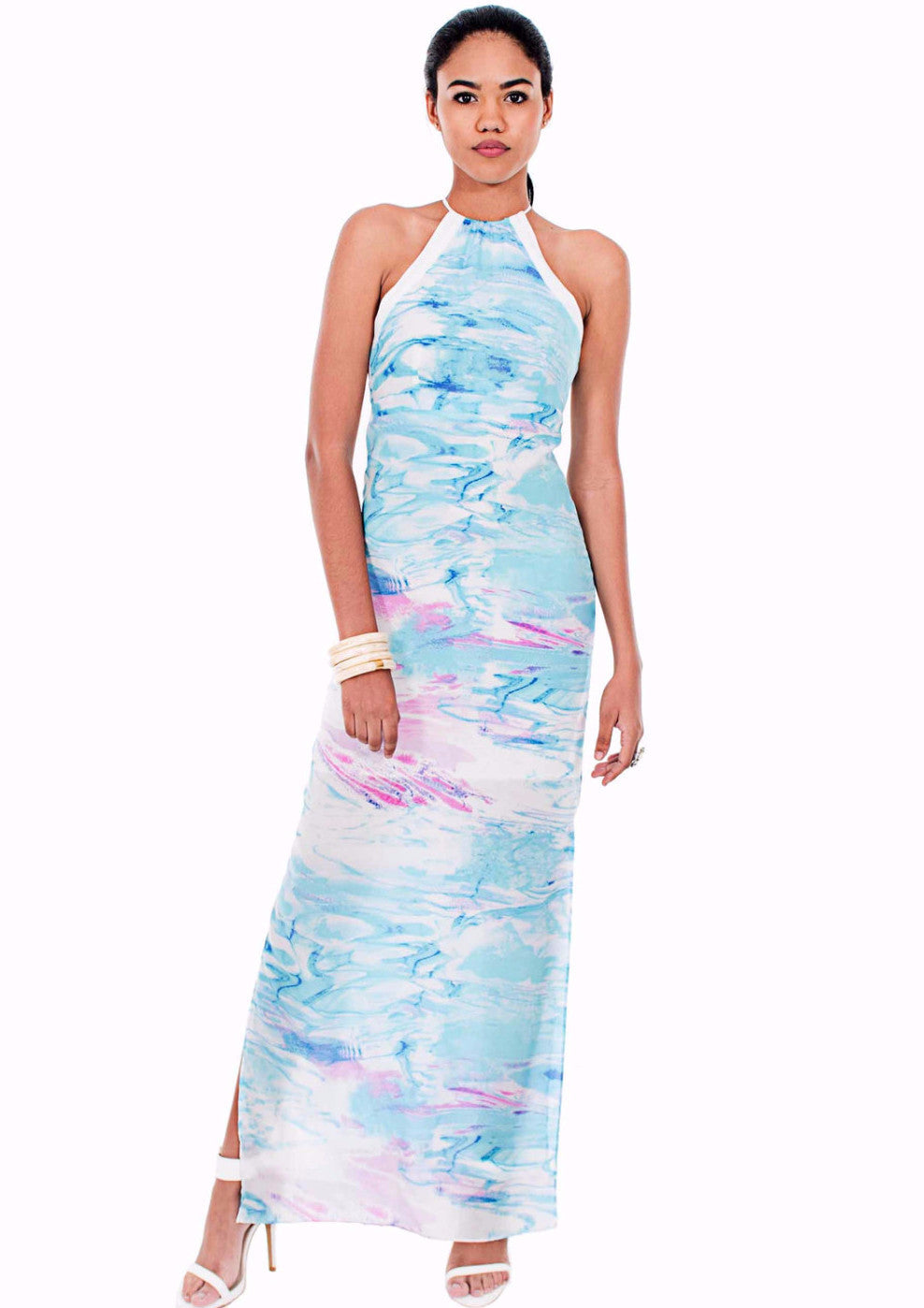 Cayman Water High Neck Silk Dress by Isy B. Design Front View on model