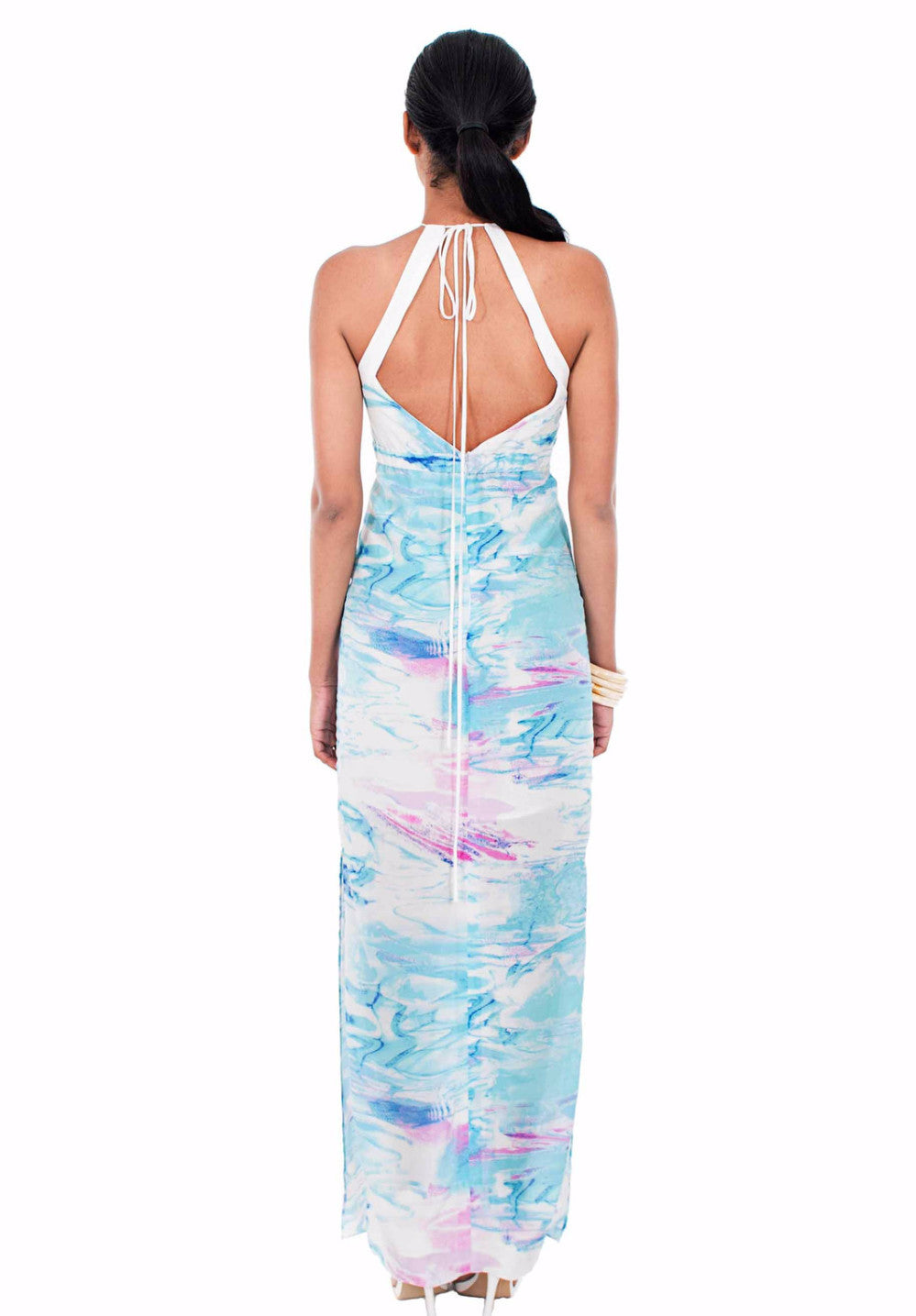Cayman Water High Neck Silk Dress by Isy B. Design Back View on model