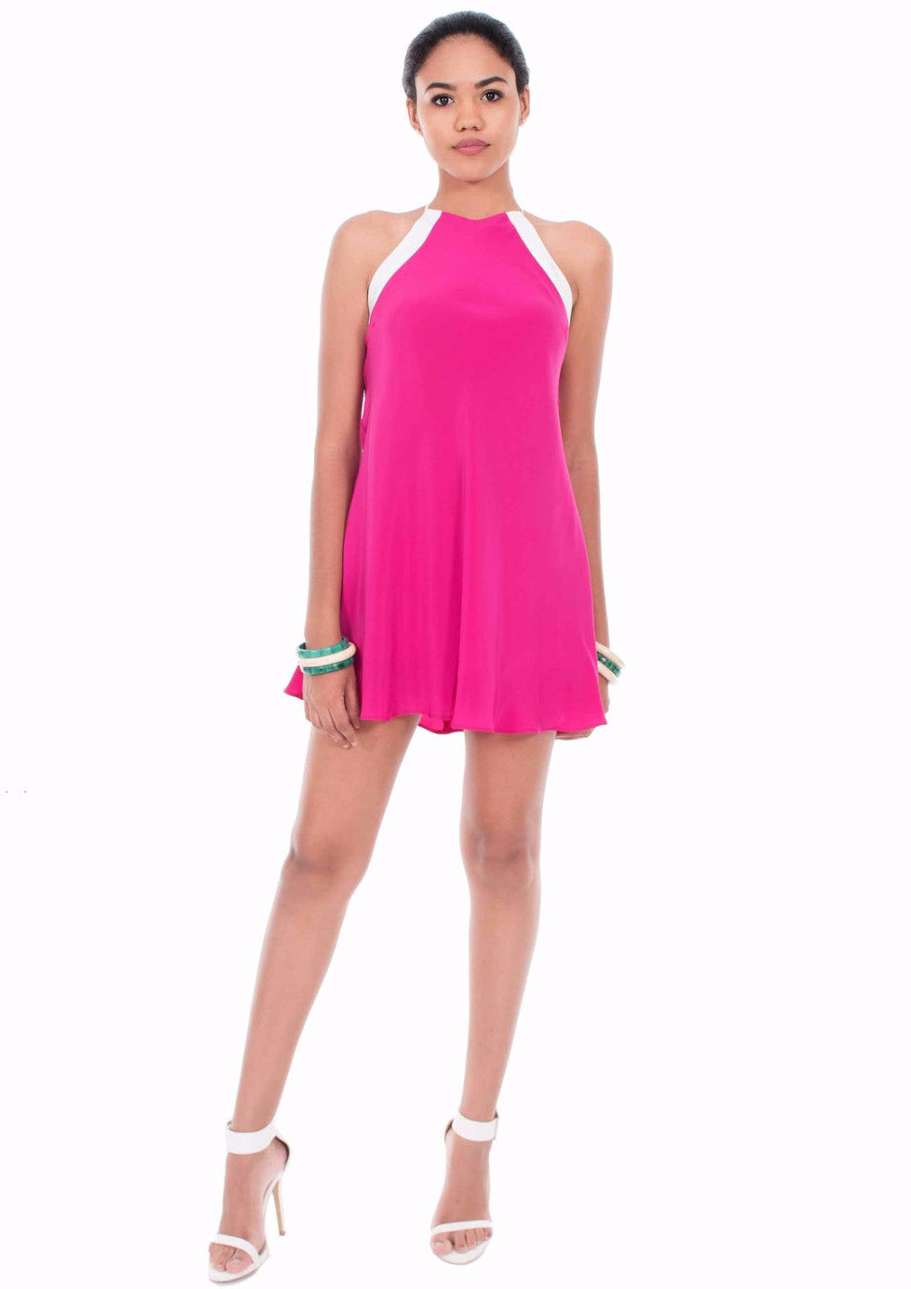Pink Sail Silk Mini Dress by Isy B. Design - Front View on Model