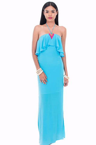 Carib One Shoulder Maxi Dress