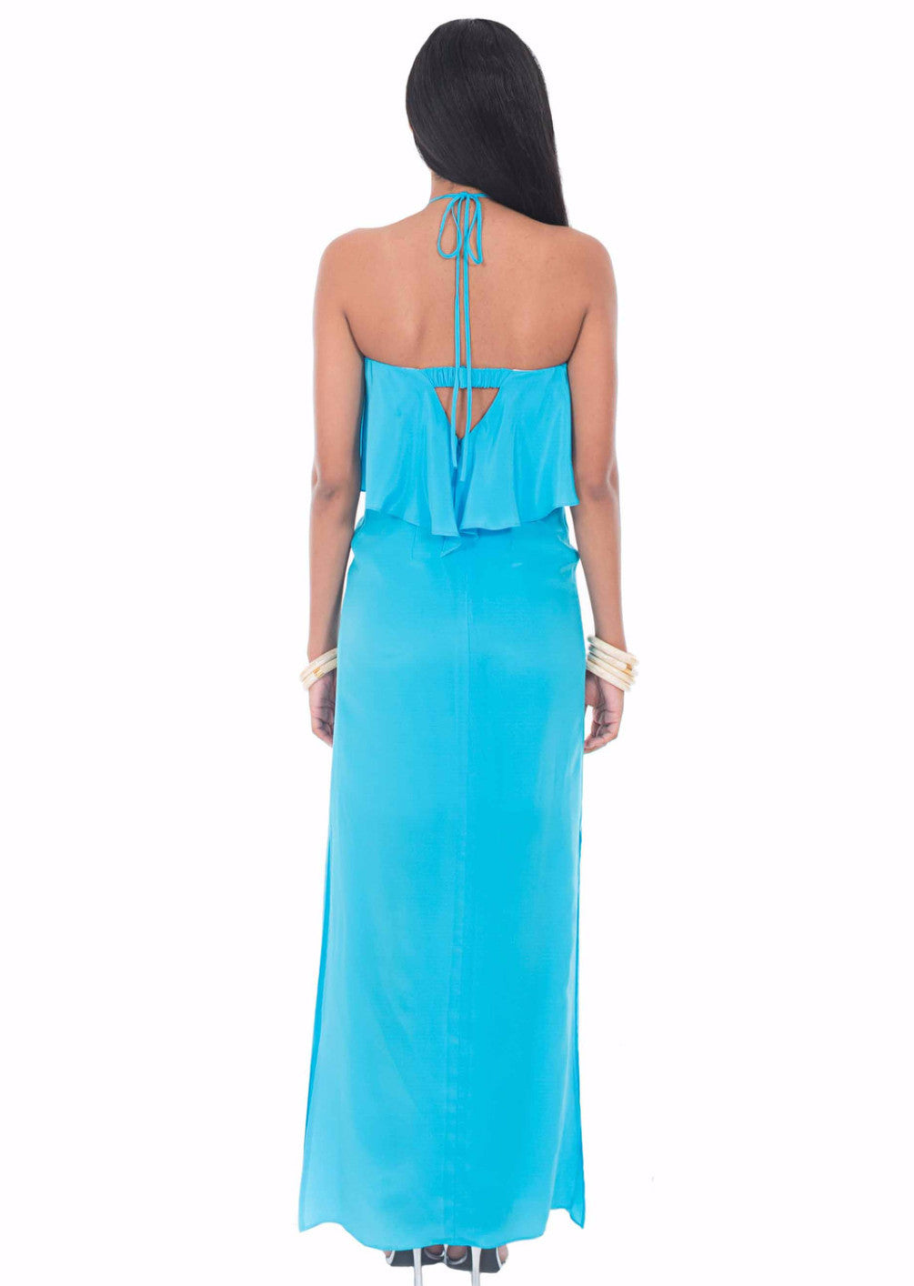 In Deep Blue Silk Ruffle Maxi Dress by Isy B. Design - Back View on Model