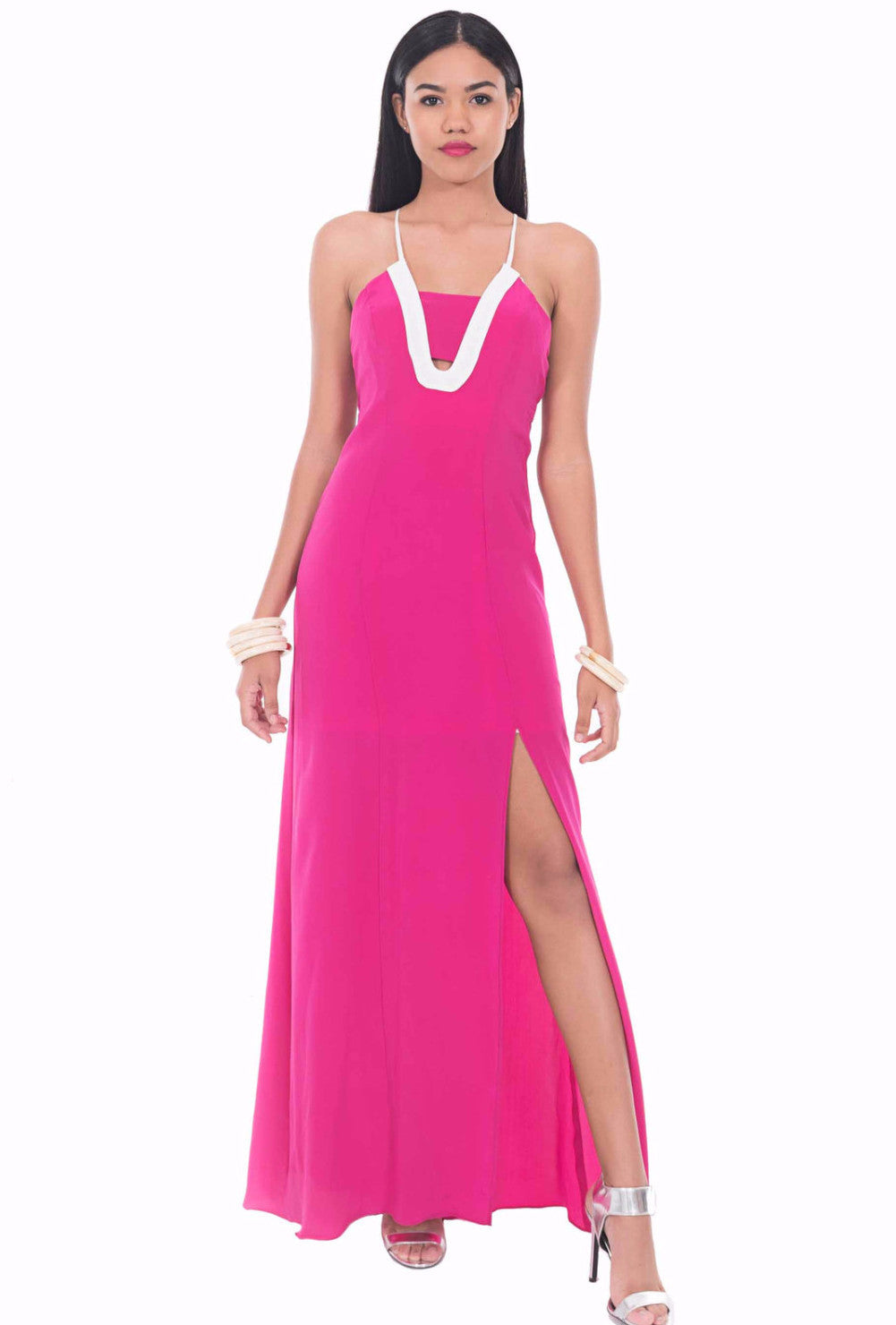 Pink Sail Silk Maxi Dress by Isy B. Design - Front View on Model