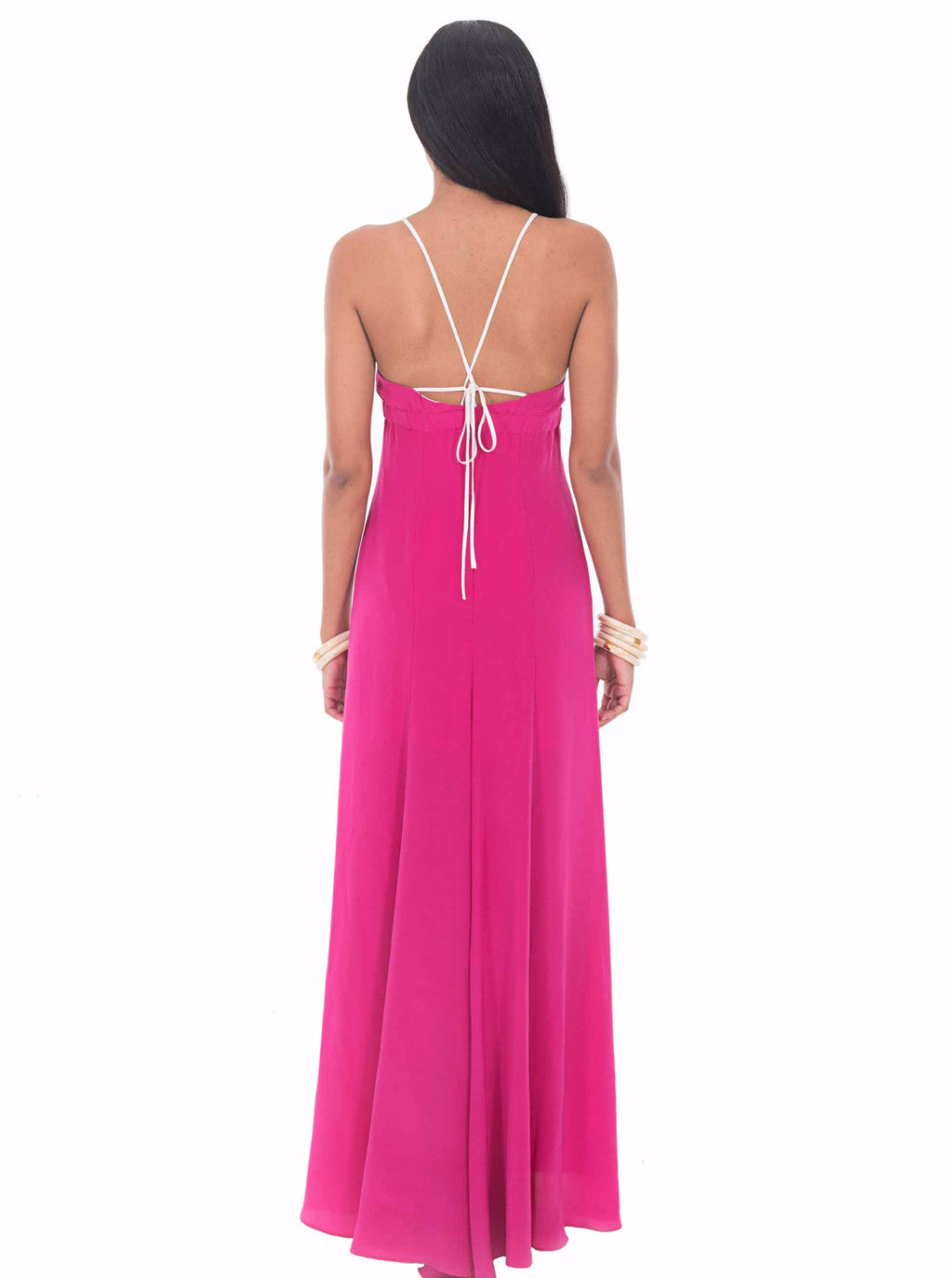 Pink Sail Silk Maxi Dress by Isy B. Design - Back View on Model