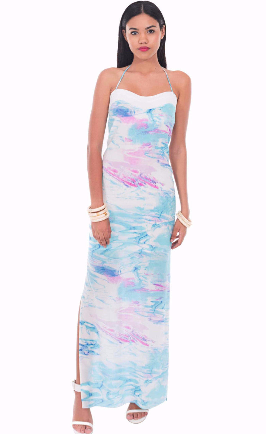 Cayman Wave Maxi Dress by Isy B. Design - Front View on Model