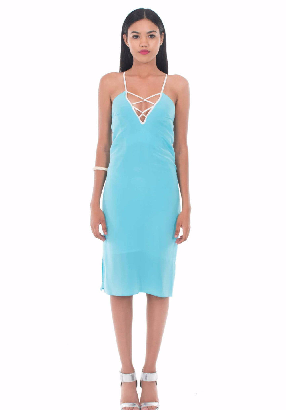 Entwined Midi Slip Dress by Isy B. Design - Front View on Model
