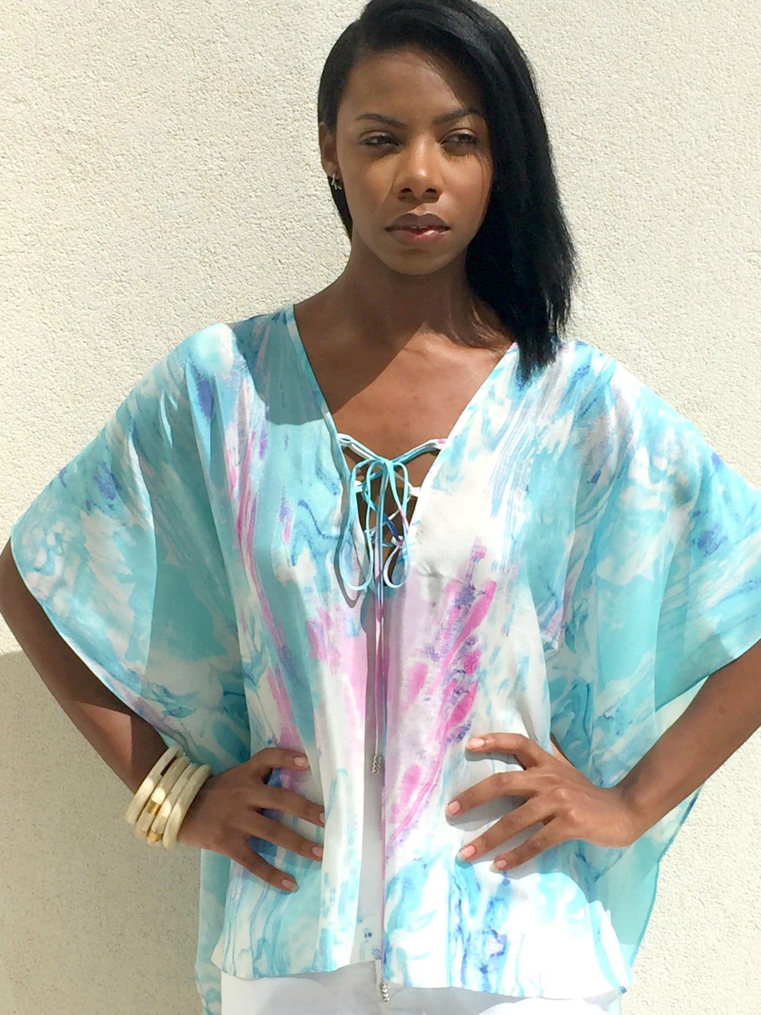 Cayman Wave Entwined Kaftan by Isy B. Design, silk Kaftan in sea colors, plunging neckline with intertwined laces