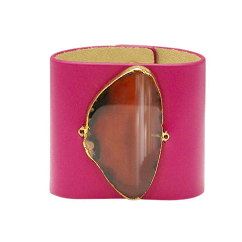LOVED CUFF - PINK LEATHER WITH BROWN AGATE – L.1.01.001.3034