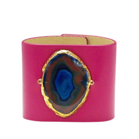 LOVED CUFF - PINK LEATHER WITH BLUE AGATE – L.1.01.002.3026