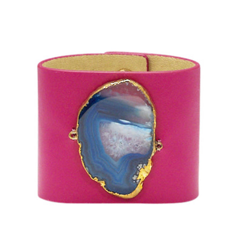 LOVED CUFF - PINK LEATHER WITH BLUE AGATE – L.1.01.002.3028