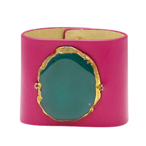 LOVED CUFF - PINK LEATHER WITH GREEN AGATE – L.1.01.003.3018
