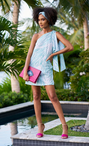 One Shoulder Kaftan Mini Dress