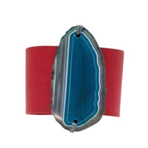 HANDCRAFTED CUFF - RED LEATHER WITH BLUE AGATE - 4CMREBL1.2