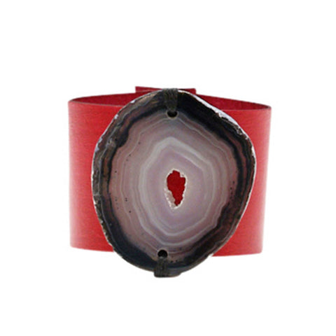 HANDCRAFTED CUFF - WHITE LEATHER PINK AGATE - 6CMWHPI1.1