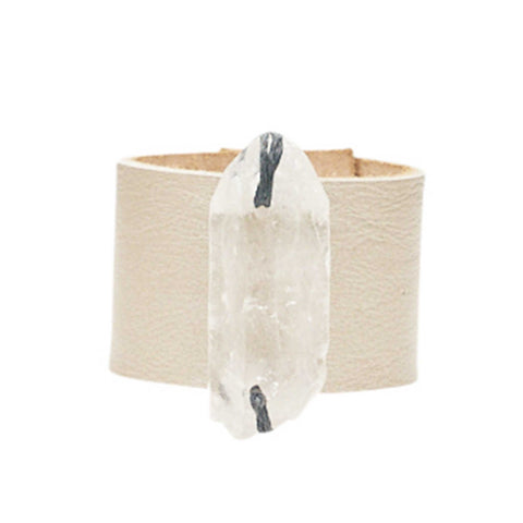 HANDCRAFTED CUFF - ROSE GOLD LEATHER WITH QUARTZ AGATE - 4CMROQU