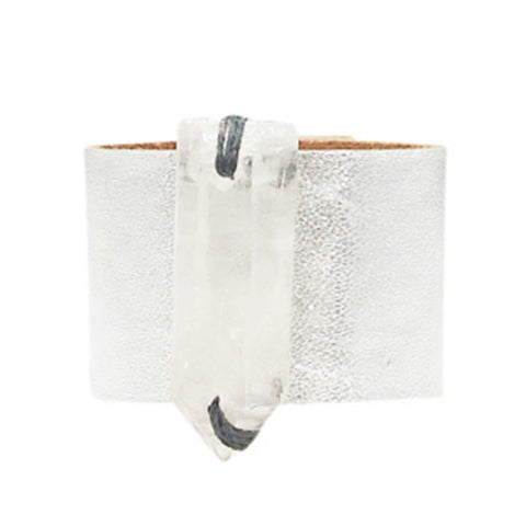 Loved Cuff - Moonstone White Leather with Pink Agate