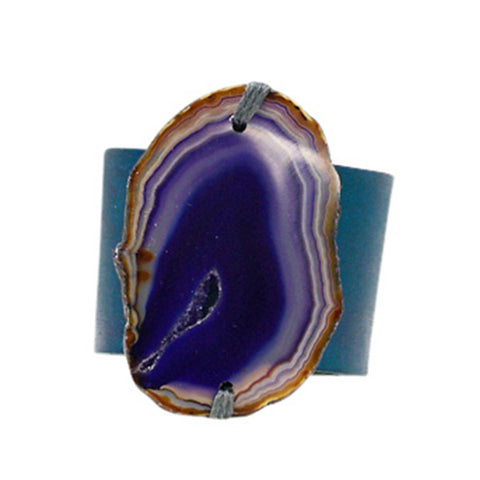 HANDCRAFTED CUFF - NAVY BLUE LEATHER BROWN AGATE - 6CMNABR