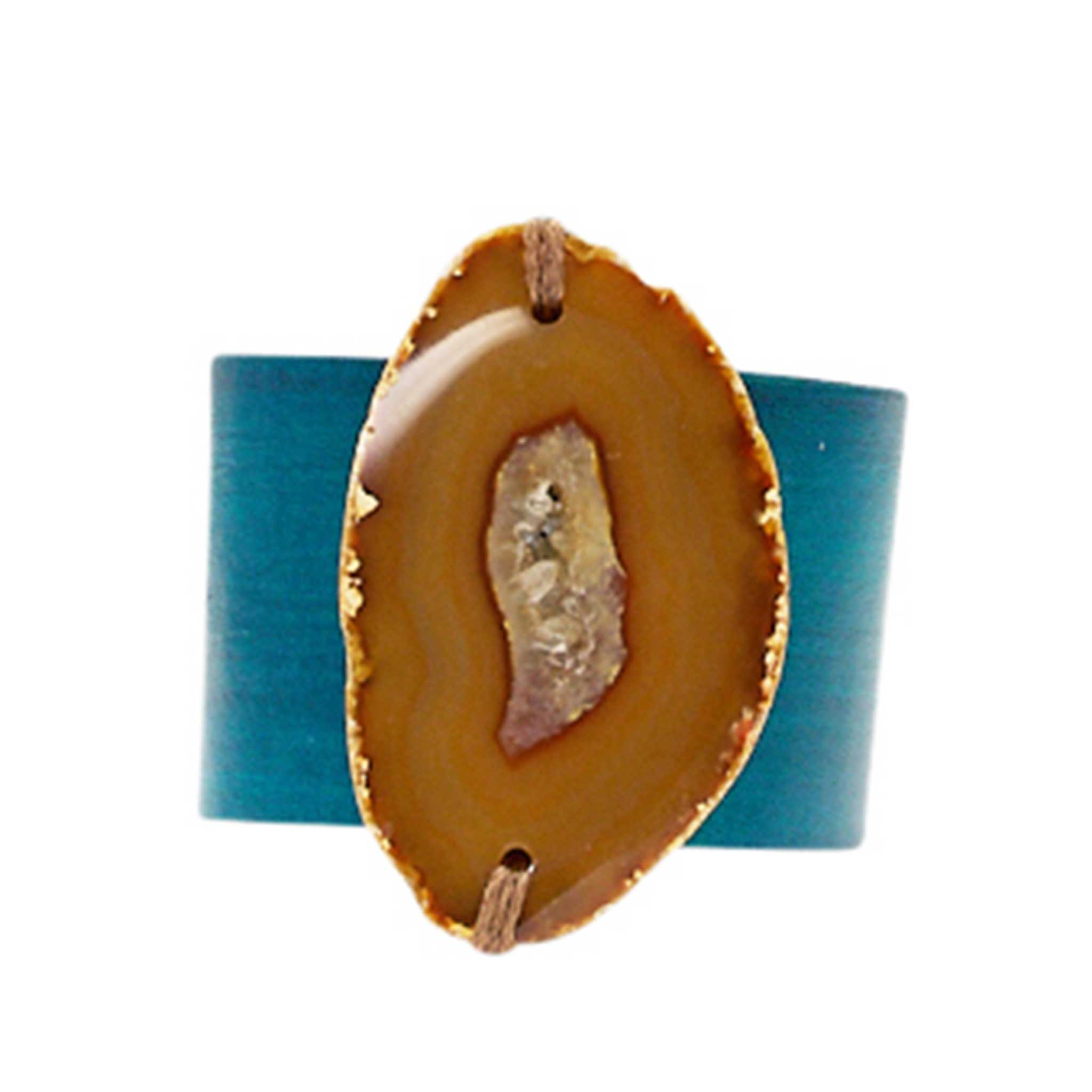 HANDCRAFTED CUFF - TEAL LEATHER WITH YELLOW AGATE - 4CMTEYE